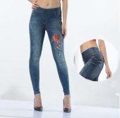 Nakış İşlemeli Yüksek Bel Kot Denim Tayt Pantolon + Hediyeli