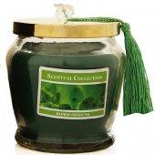 şık Kapaklı Püsküllü Yeşil Çay Ve Bambu Kokulu Mum