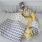 Modastra Sarı Gri Zigzag Ve Yıldız Desenli Ebabynest Seti