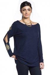 Modastra Lacivert Kol İşlemeli Bluz
