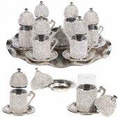 Swarovski Taşlı 6 Kişilik Çay Seti (Tepsi Ve Şekerlik Hediye) Gri