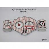 Kuru Kafa Desenli Porselen Damat Fincanı 3 Parça Set