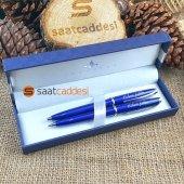 Isme Özel Steel Pen 2 Li Kalem Seti Mavi Babalar Günü Özel