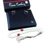 Pierre Cardin Deri Cüzdan + Sedef Tesbih + Gümüş Kol Düğmesi