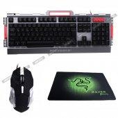 Pg Işıklı Gaming Klavye Mouse Set Oyuncu Mousepad Hediye