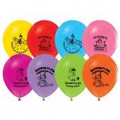 128 Adet Sünnet Baskılı Balonlar Sünnet Düğünü Balon Renkli Ucuz