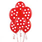 Kırmızı Üstüne Beyaz Puantiyeli 14lü Balon Doğum Günü Parti Balon