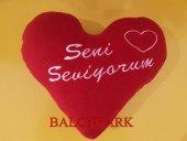 Sevgiliye Hediye Kalp Yastık Seni Seviyorum Nakış İşleme Polar