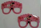 10 Adet Pembe Kız Minnie Mouse Karton Gözlük Doğum Günü Parti