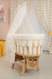 Bebekonfor Osmanlı Uyku Setli Doğal Ahşap Sepet Bebek Beşiği