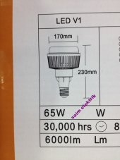 Yüksek Tavan 65w Led Ampül E27 Beyaz 6500 Kelvin