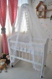 Bebekonfor Beyaz Fransız Dantelli Beyaz Anne Yanı Bebek Beşiği