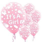 56 Adet Pembe Its A Girl Balonu Hastane Bebek Balloon Doğum Odas