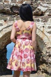 çiçek Desenli Tül Elbise Günlük Mezuniyet Düğün Tatil Kısa Elbise