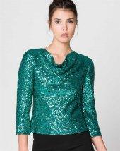 Bonalodi Yeşil Payet Sırt Dekolte Kadın Bluz