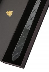 Koyu Gümüş Renk Aynalı Pleksi Kravat Plk3676