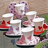 Ews Porselen Renkli Kalpli 6lı Fincan Takımı