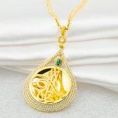 Tam Altın Tuğralı Yeşil Taşlı Zincirli Altın Kolye