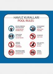 At 1079 Türkçe İngilizce Havuz Kuralları Tabelası