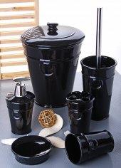 6 Parça Banyo Seti Porselen Çöp Kovalı 1079 Siyah