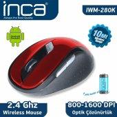 ınca Iwm 280k 2.4ghz Nano 10 Mt Wıreless Mouse Kırmızı Siyah