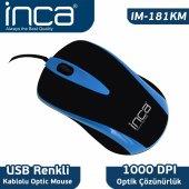 ınca Im 181km Fascıa Seri Usb 1000 Dpı Scroll Kablolu Mouse Mavi