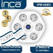 ınca 100 Türk Tasarımlı 6lı Oval Akım Korumalı Işıklı Priz 3 Metre Beyaz