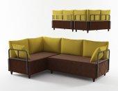 Wood House Asel Köşem Takımı Kahverengi Sarı