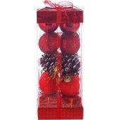 Ae Kırmızı Yılbaşı Ağacı Süsü Lüks Set 20li 4cm