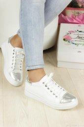 Günlük Beyaz Gümüş Aynalı Bayan Ayakkabı