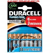 Duracell Turbo Max Alkalin 6+2 Aaa İnce Pil X 10 Kart
