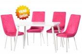 Teknoset Silver Serisi Beyaz Fuşya Mutfak Masa Sandalye Takımı