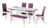 Teknoset Mutfak Masa Sandalye Takımı Mürdüm Gül Kelebek Masa