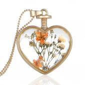 Frilly Cam Çerçeve Kuru Çiçek Kalp Kolye (Fkk1088)