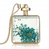 Frilly Cam Çerçeve Kuru Çiçek Kolye (Fkk683)