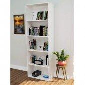 5 Raflı Kitaplık 175 Cm Beyaz