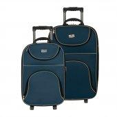 Enzelo Stil Kumaş 2lü Bavul Valiz Seti (Kabin Orta)