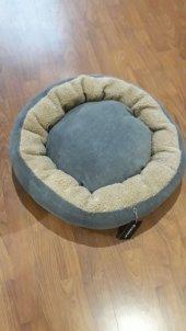 Bedspet Simit Kedi Köpek Yatağı Gri Deve Tüyü