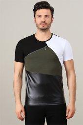 Parçalı Deri Detaylı Siyah Erkek Tshirt