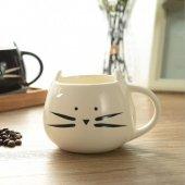 Beyaz Renkli Kedi Kupa Bardak