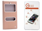General Mobile Discovery One 4g Altın Kılıf Kapaklı + Cam