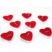 100 Adet Kalpli Tealight Mum Kırmızı Kalp Şeklinde Mum