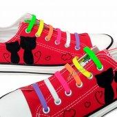 Renkli Silikon Ayakkabı Bağcığı 7+7 14 Adet (15 Model) 100 Yerli