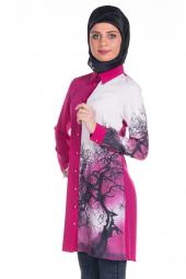 Modaverda Bayan Dijital Baskılı Tunik Fuşya Renk