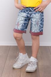 Denimart Erkek Çocuk Kilim Desenli, İçi Kırmızılı Şort Mavi Renk