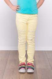 Ottomama Kız Çocuk Lazer Kesikli Taşlı Pantolon Sarı Renk