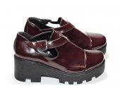 Tokalı Kalın Topuklu Ayakkabı (Bordo)