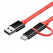 Nubia 100cm Type C & Micro Usb 2 İn 1 Kablo