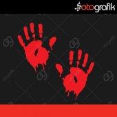 Otografik Kanlı Eller Oto Stıcker Set