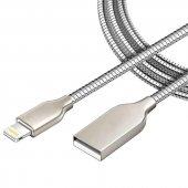 Apple İphone 5 6 7 Plus Metal Yaylı Usb Hızlı Şarj Kablosu